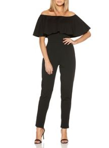 Quiz Black Bardot Frill Jumpsuit
