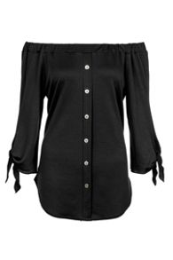 Quiz Black Crepe Bardot Button Front Top