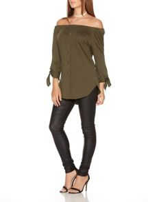Quiz Khaki Crepe Bardot Button Front Top
