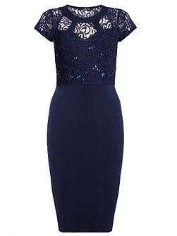 Navy Lace Sequin Cut Out Midi Dress