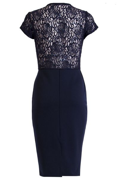 Quiz Navy Lace Sequin Cut Out Midi Dress