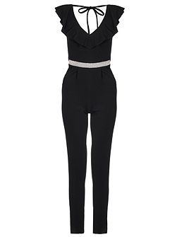 Black Frill Diamante Crepe Jumpsuit