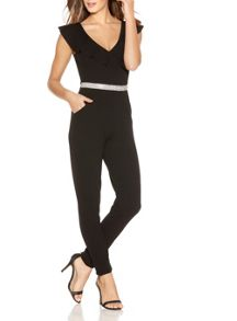 Quiz Black Frill Diamante Crepe Jumpsuit