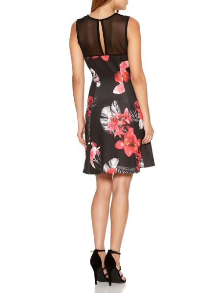 Quiz Black Floral Mesh Flippy Dress