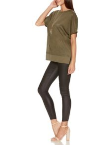 Quiz Khaki Batwing Necklace Top