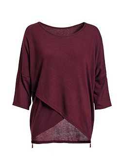 Burgundy Light Knit 3/4 Sleeve Top
