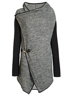 Grey Knit Waterfall Cardigan