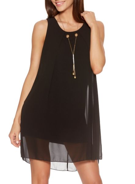 Quiz Black Chiffon Necklace Tunic Dress