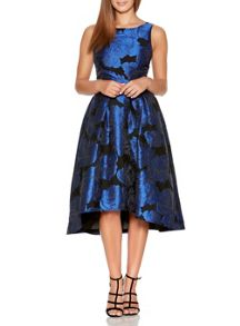 Quiz Black And Royal Blue Jacquard Print Dress