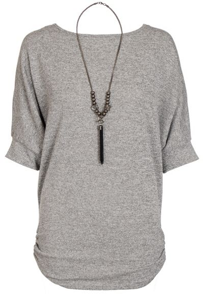 Quiz Grey Lace Back Necklace Top