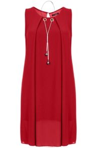 Quiz Red Chiffon Necklace Tunic Dress