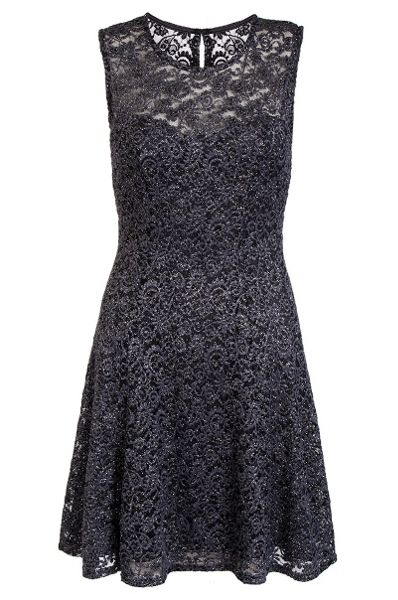 Quiz Grey Glitter Lace Skater Dress