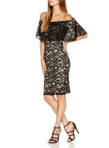 Quiz Black Lace Frill Bardot Dress