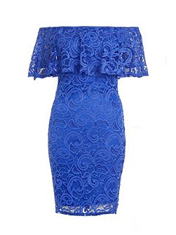Blue Lace Frill Bardot Dress