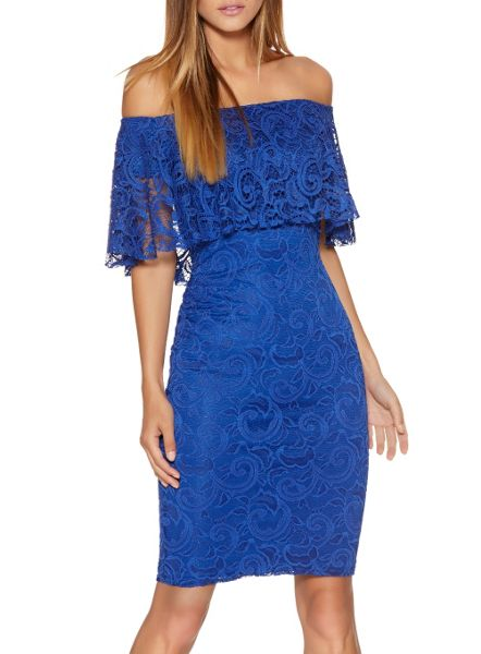 Quiz Blue Lace Frill Bardot Dress