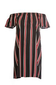 Quiz Black Stripe Bardot Tunic Dress