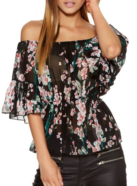 Quiz Black Flower Print Bardot Top