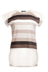 Quiz Nude And Cream Crepe Stripe Top