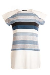 Quiz Blue And Cream Crepe Stripe Top
