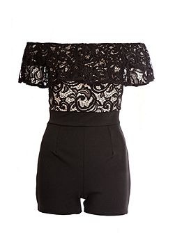 Black And Stone Lace Frill Playsuit