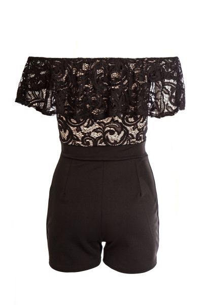 Quiz Black And Stone Lace Frill Playsuit