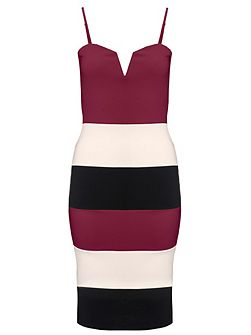 Berry Panel Strap Bodycon Dress
