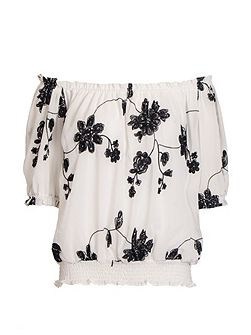Cream And Black Floral Bardot Top