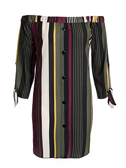 Khaki Stripe Bardot Tunic Dress