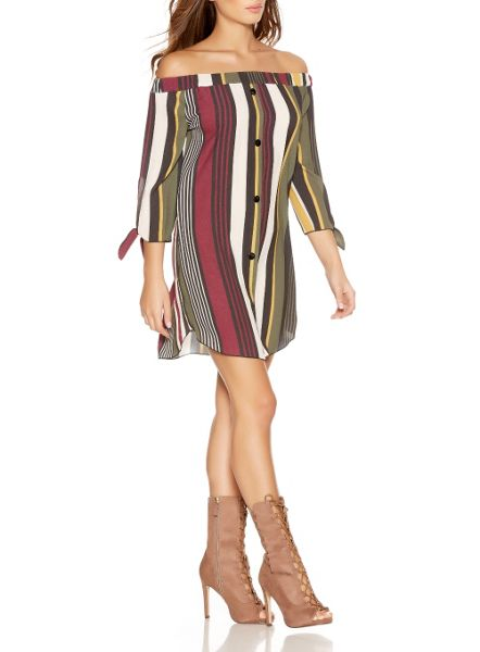 Quiz Khaki Stripe Bardot Tunic Dress