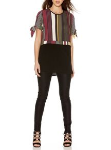 Quiz Khaki Stripe Crepe Top