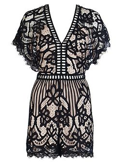 Black And Stone Lace Playsuit