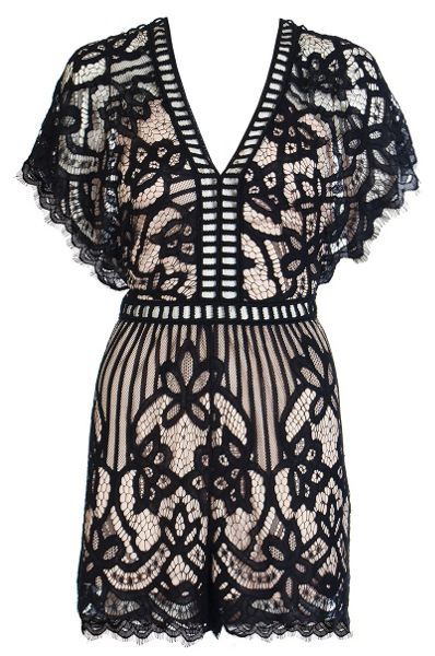 Quiz Black And Stone Lace Playsuit