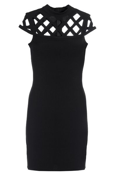 Quiz Black Laser Cut Turtle Neck Dress