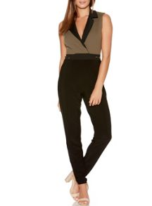 Quiz Khaki And Black Button Jumpsuit