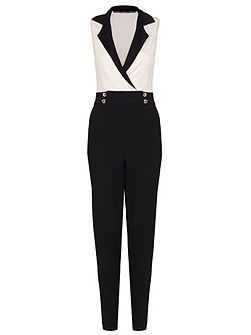 Cream And Black Button Jumpsuit
