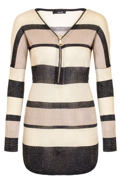 Quiz Beige Stripe Knit Top