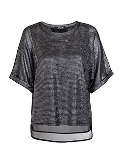 Silver Textured Chiffon Top