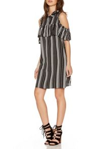 Quiz Black Stripe Ruffle Shirt Dress