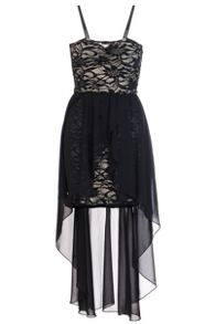 Quiz Black Lace Chiffon Dip Hem Dress