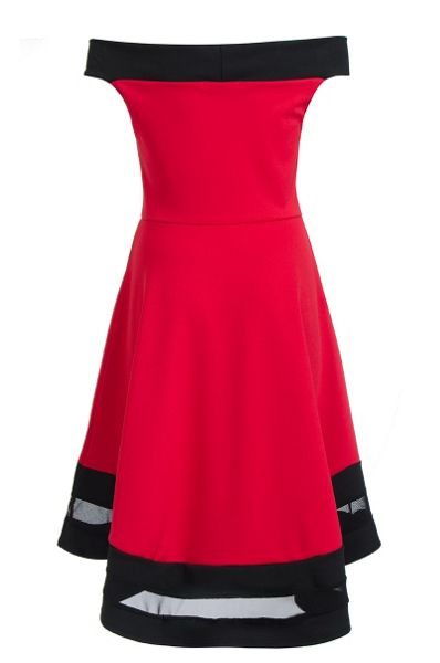 Quiz Red Bardot Dip Hem Mesh Dress