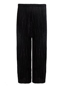 Black Pleated Culotte Trousers