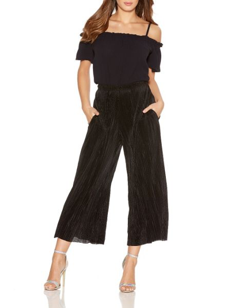 Quiz Black Pleated Culotte Trousers