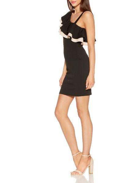 Quiz Black Shoulder Frill Bodycon Dress