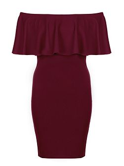 Berry Crepe Big Frill Bardot Dress