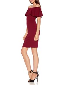 Quiz Berry Crepe Big Frill Bardot Dress