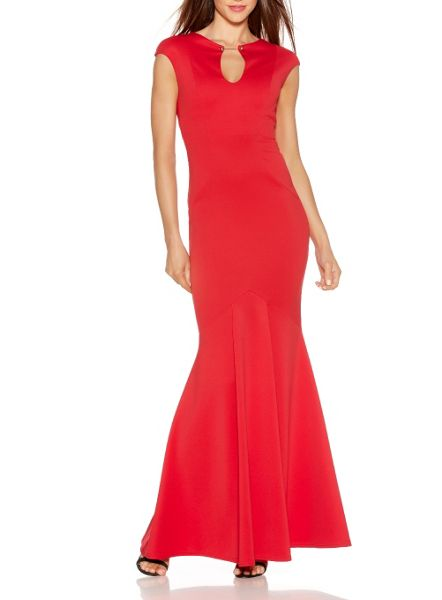 Quiz Red Keyhole Fishtail Maxi Dress