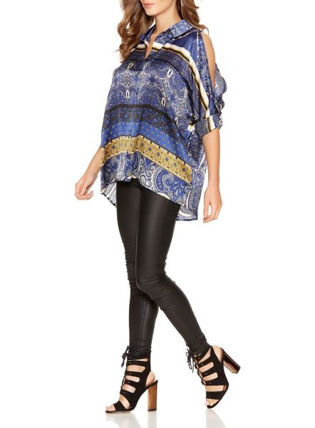 Quiz Blue And Mustard Printed Satin Cold Shoulder Shir