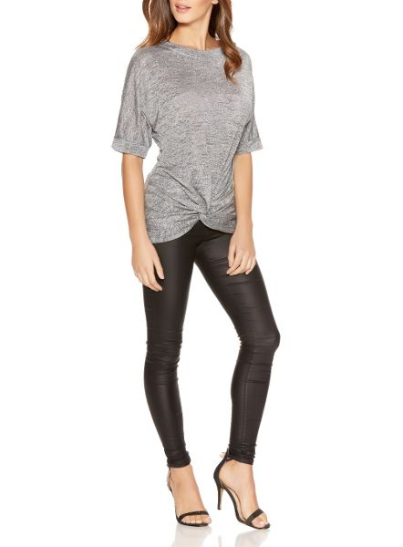 Quiz Silver Glitter Knot Front Top