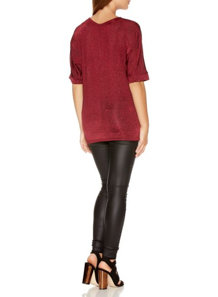 Quiz Berry Glitter Knot Front Top