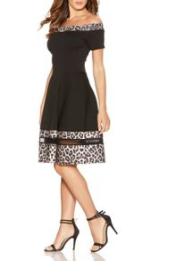Quiz Black Leopard Print Bardot Dress